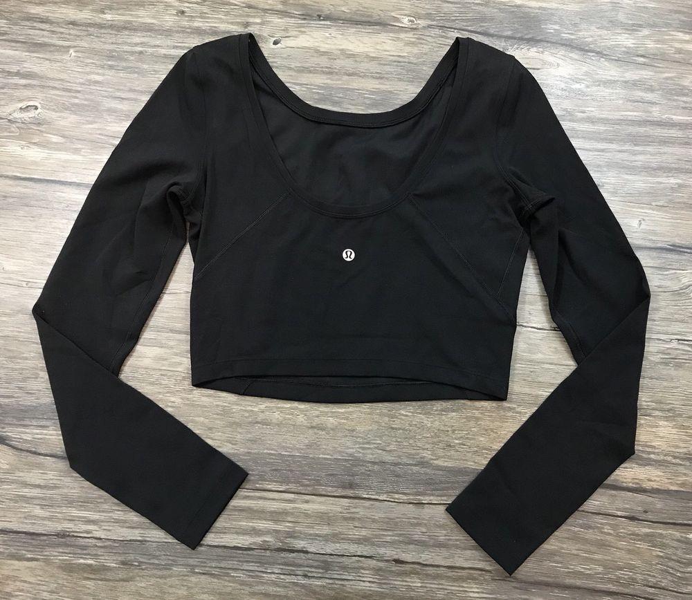 d3fa2142047 Lululemon Arise Cropped Long Sleeve Scoop Back Shirt Black Womens Sz 6 / # Lululemon #AthleticLongSleeve