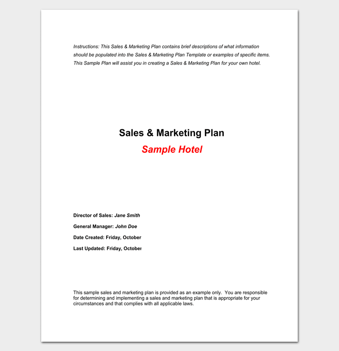 Hotel Sales And Marketing Plan  Plan Templates  For New Business