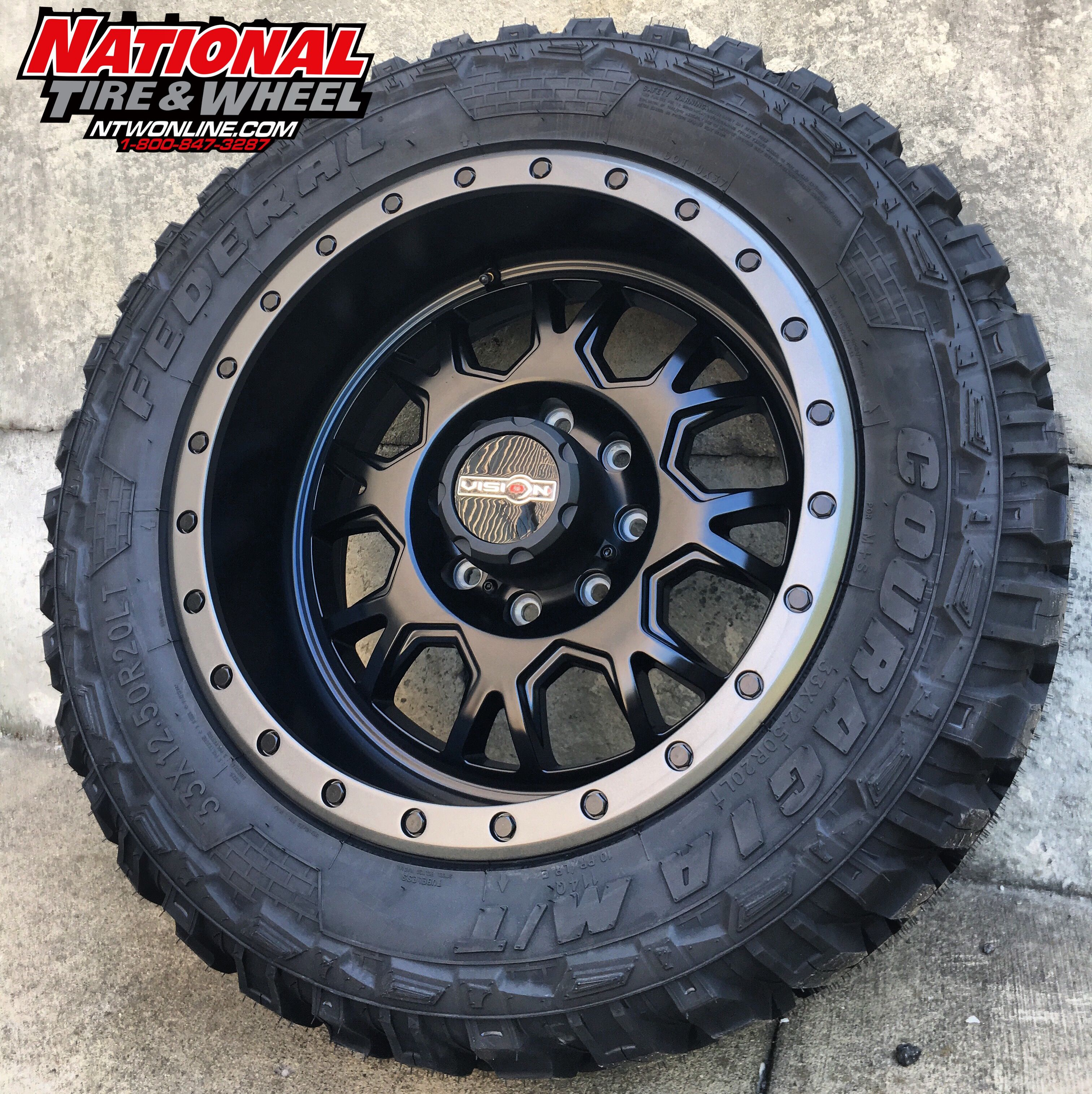 20X10 Vision Wheel GV8 Invader mounted up to a 33X12 50R20 Federal