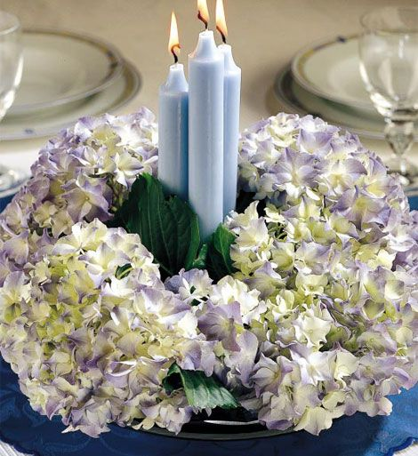 Centrotavola Con Ortensie E Candele : Centrotavola ortensie e candele pinterest
