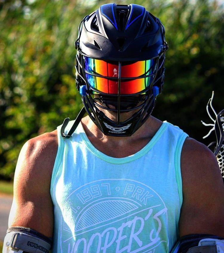 Shoc Red And Black Iridium Football Visor On A Cascade R Black Lacrosse Helmet Lacrosse Lacrosse Boys Lacrosse Gear