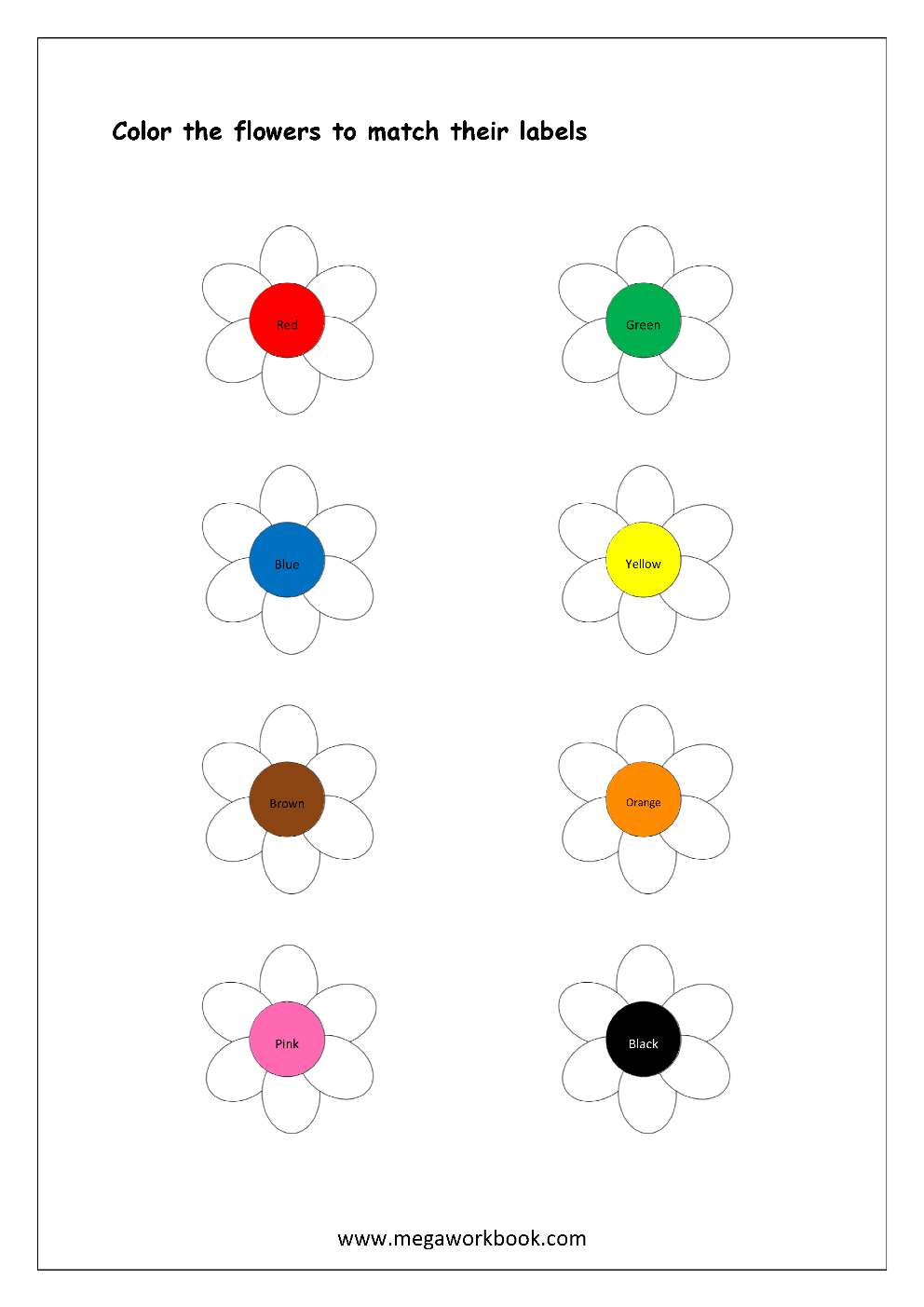 color recognition worksheet color the objects using matching color flowers free printable. Black Bedroom Furniture Sets. Home Design Ideas