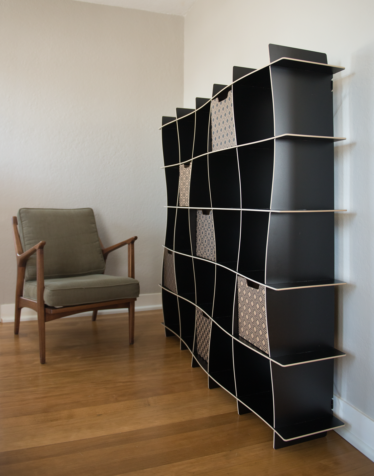 25 Cubby Black Wave Bookshelf With Cubby Storage Bins
