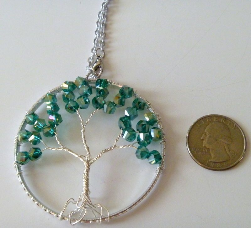 Tree of Life Christmas Ornament or Suncatcher with Green Crystal Beads  #handcrafted