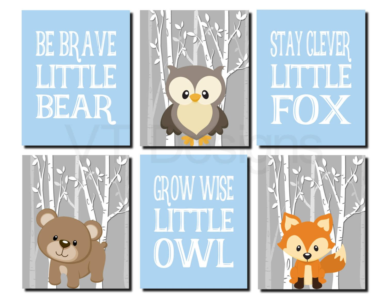 Woodland Wall Art Carters Forest Friends Kids Baby Boy Bear Stay Clever Fox Grow Wise Little Owl Set Of 6 Prints Or Canvas By Vtdesigns On