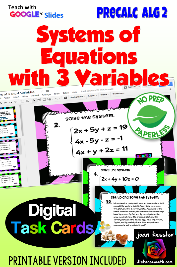 Systems of Equations 3 Variables Digital Task Cards