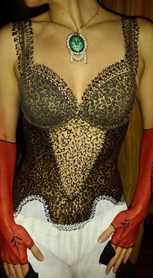 Bodypainting Lingerie e gioielli  700 veneziano -Painter Gilberta Gibibodypainter -Modella A. Capiotto