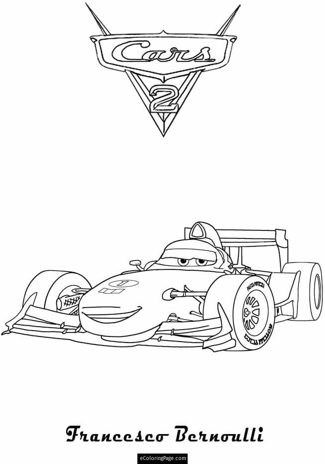 Kleurplaten Francesco Cars 2.Cars 2 Francesco Benoulli Printable Coloring Page Kids Coloring