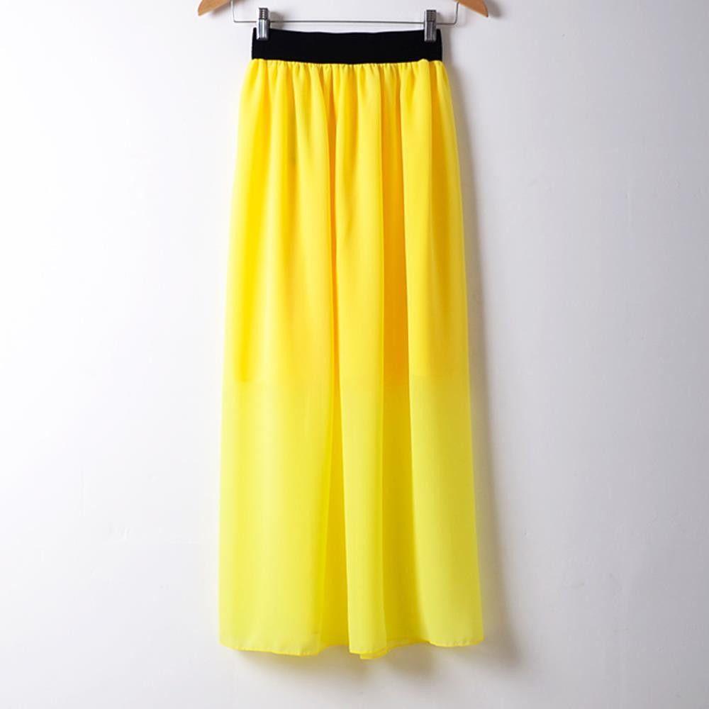 2016 Fashion Women Long Skirt High Waist Pleated Maxi Skirts Womens Slim Vintage Chiffon Maxi Skirt Autumn Fall
