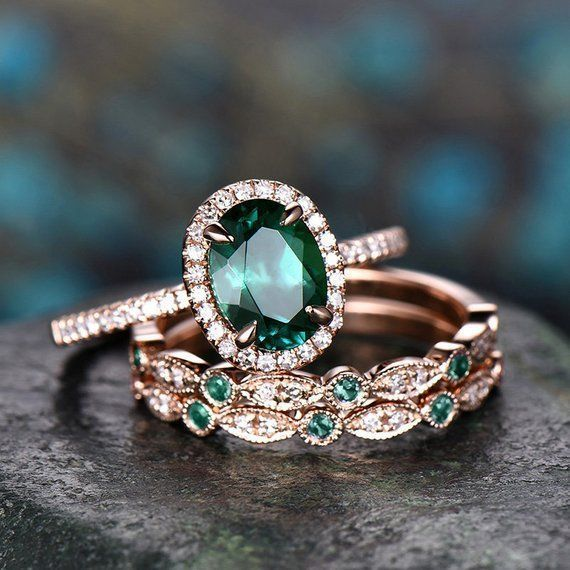 Photo of Emerald engagement ring set 14k rose gold natural emerald ring vintage diamond ring 3pcs unique marquise halo may birthstone promise ring