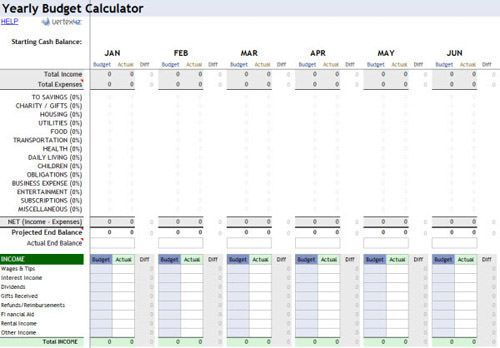 Yearly Budget Calculator  Excel    Budget Calculator