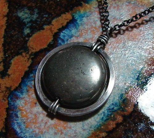 Pyrite and Sterling Silver Necklace by StrungOutDesigns on Etsy