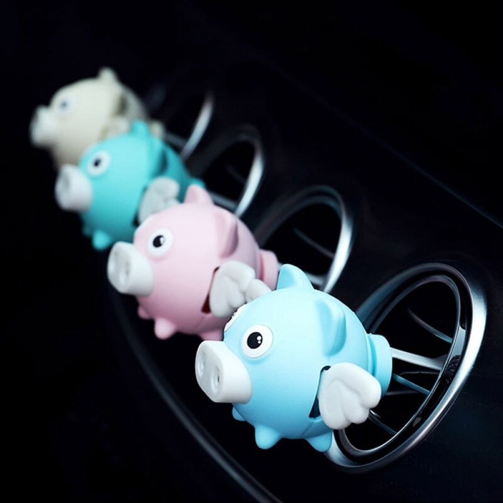 Car freshener cute shaking wings pig doll perfume clip