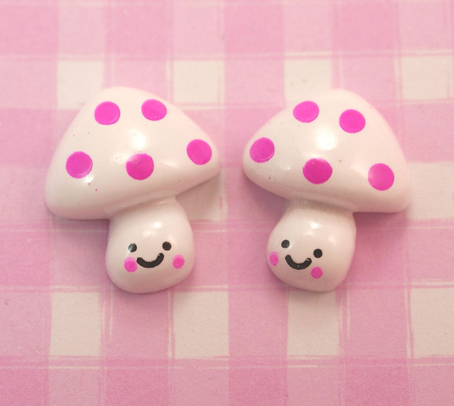 6 x Cute Spotty Mushroom Character Flat Back Resin Cabochon for Kawaii Crafts, Decoden etc - 20 x 18mm. £2.45, via Etsy.
