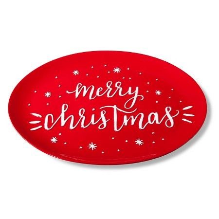 """""""Merry Christmas"""" Oval 15in Ceramic Serving Platter Red - Threshold™ : Target"""