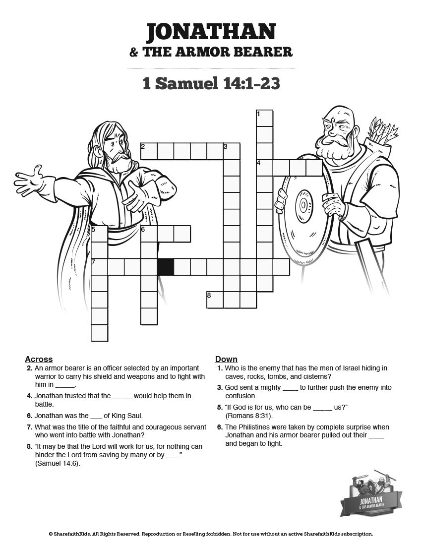 Jonathan And His Armor Bearer Sunday School Crossword Puzzles: The ...