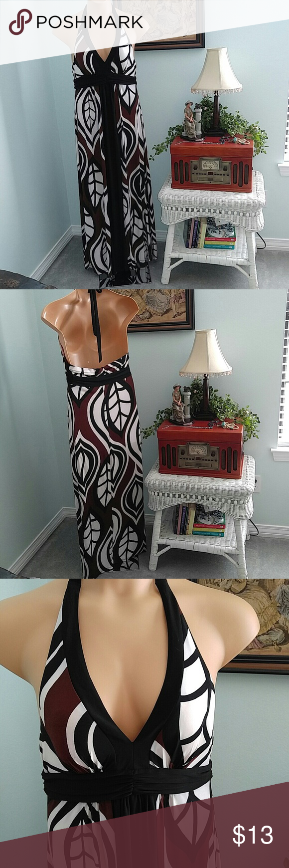 BISOU BISOU Like new. Beautiful halter long dress. No issues. Bisou Bisou Dresses Maxi