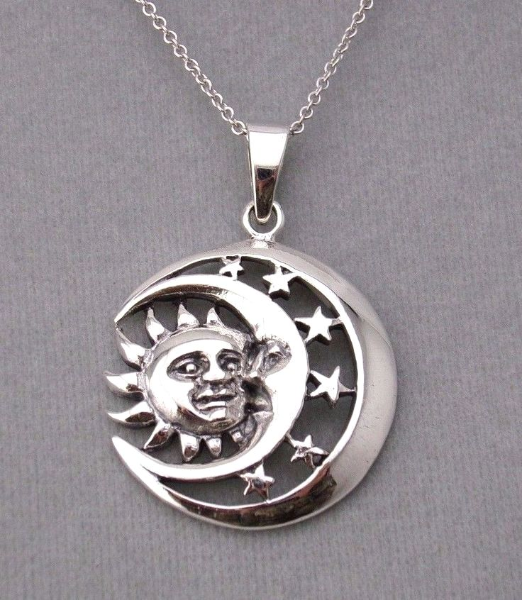 925 sterling silver sun moon stars pendant necklace celestial new 925 sterling silver sun moon stars pendant necklace celestial new unbranded pendant aloadofball Image collections