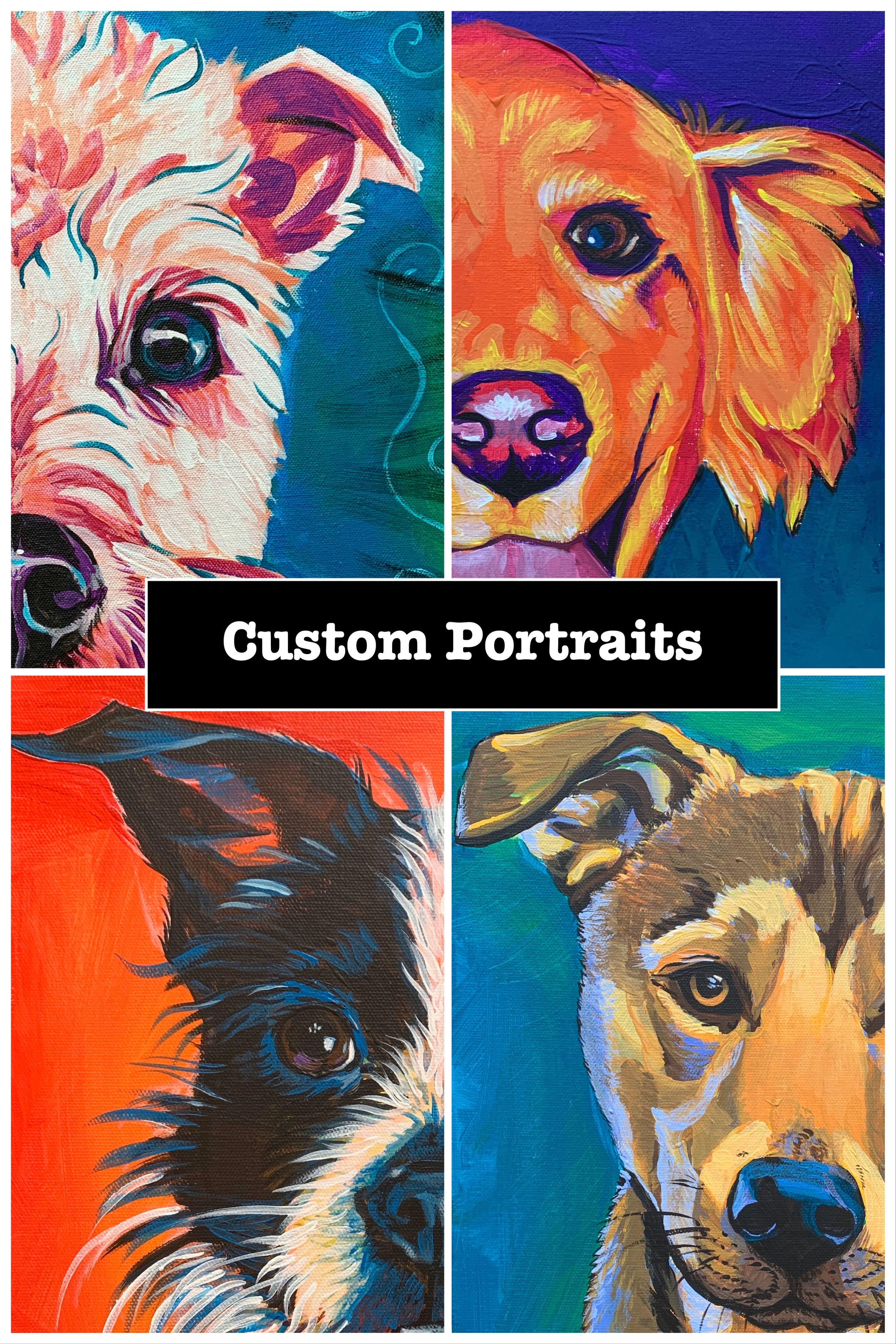 Custom Pet Portraits 12 x 12  Portrait of Your Dog or Cat or Horse Pet Lover Pets Portrait Personalized Hand Painted Pet Memorial