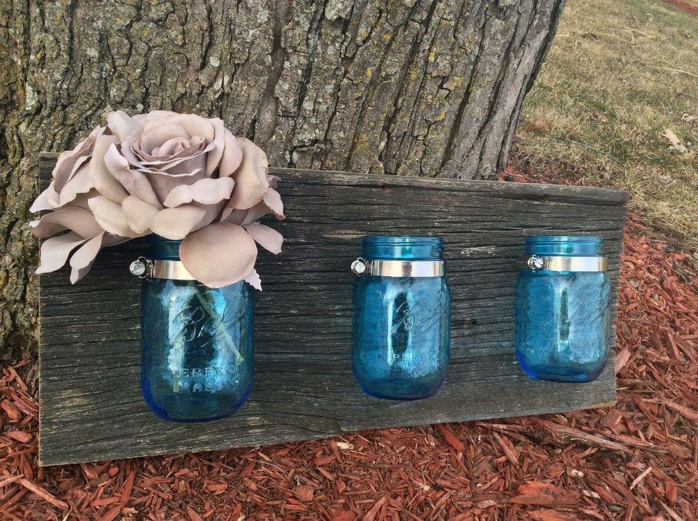 Reclaimed barn wood blue mason jar wall vase barnwood mason jar light  fixture rustic shabby chic - Reclaimed Barn Wood Blue Mason Jar Wall Vase Barnwood Mason Jar