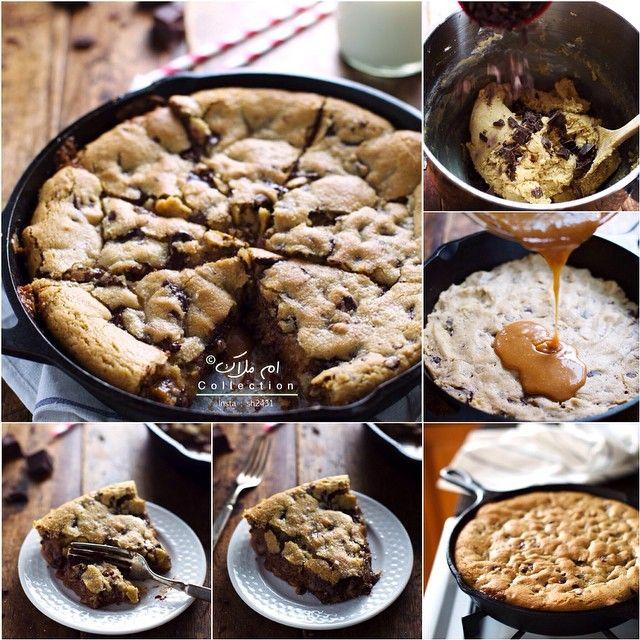 تفضلوا طريقة كيكة الكوكيز جربوها حبايبي راح تعجبكم كوكيز بقطع الشوكلاته والكرميل المقادير ثلاث كاسات طحين ملعقة صغيرة Food Pie Cake Cookie Bars