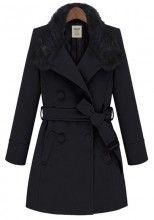 Black Plain Belt Turndown Collar Thick Wool Coat
