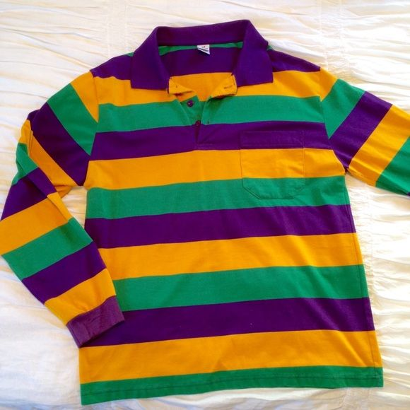 Mardi Gras Rugby Shirt Purple Gold And Green Long Sleeve Great For Tops