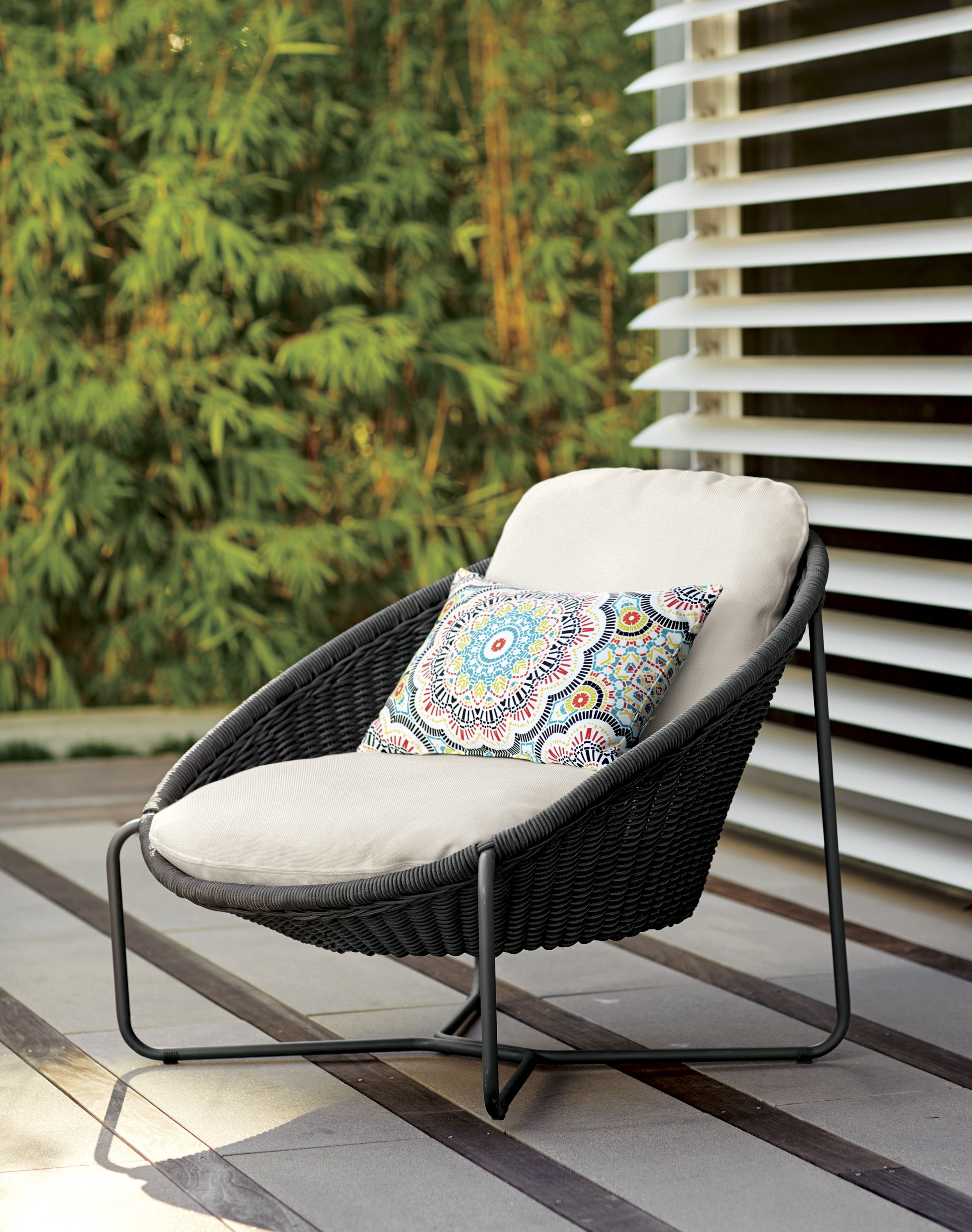 When it comes to relaxing outdoors in affordable modern style our laid back morocco collection knows the ropes oval outdoor lounge chair is