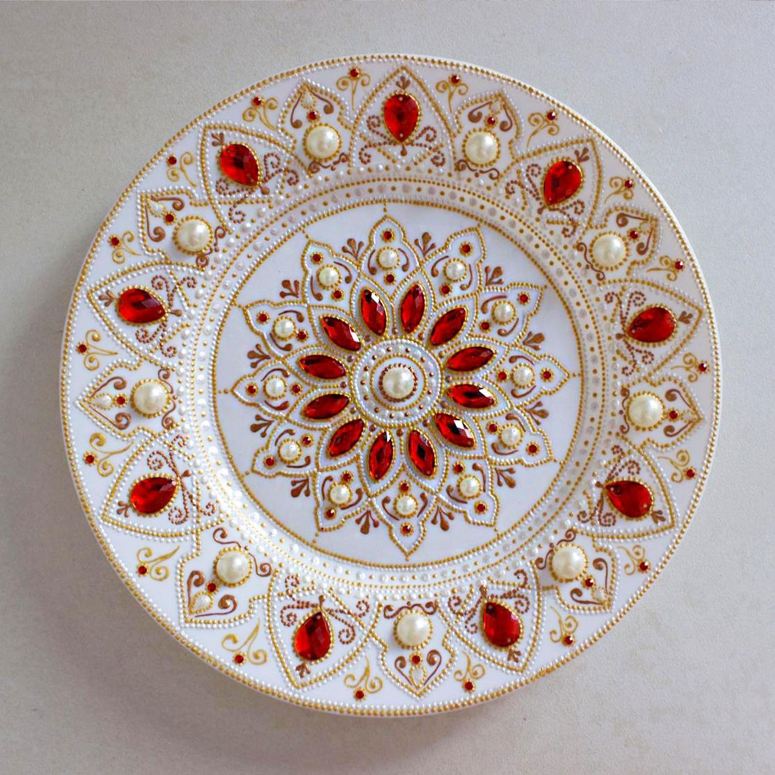 Ceramic wall plate red wall decor mandala decorative plate