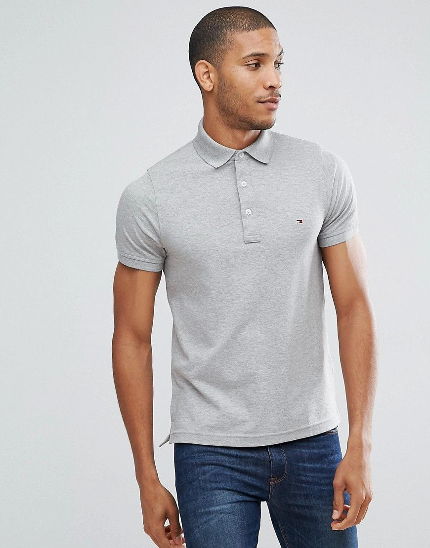 930be5200 Tommy Hilfiger slim fit polo in gray | Products | Tommy hilfiger ...