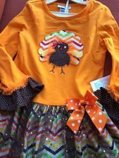 New Girls Bonnie Jean PILGRIM TURKEY outfit Thanksgiving Dress Clothes Fall 6X