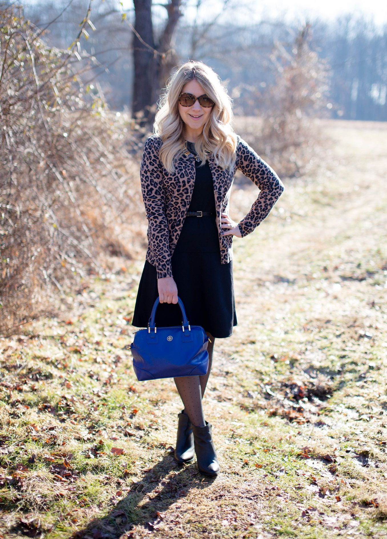 Uniqlo black dress leopard cardgian business casual work outfit