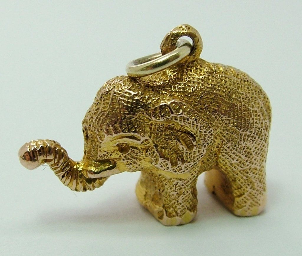 Solid 9ct Yellow Gold Elephant Charm DgAaEDWpE