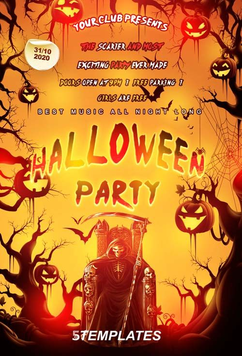 Free Halloween Party Flyer PSD Template Halloween Party Ideas - halloween party flyer