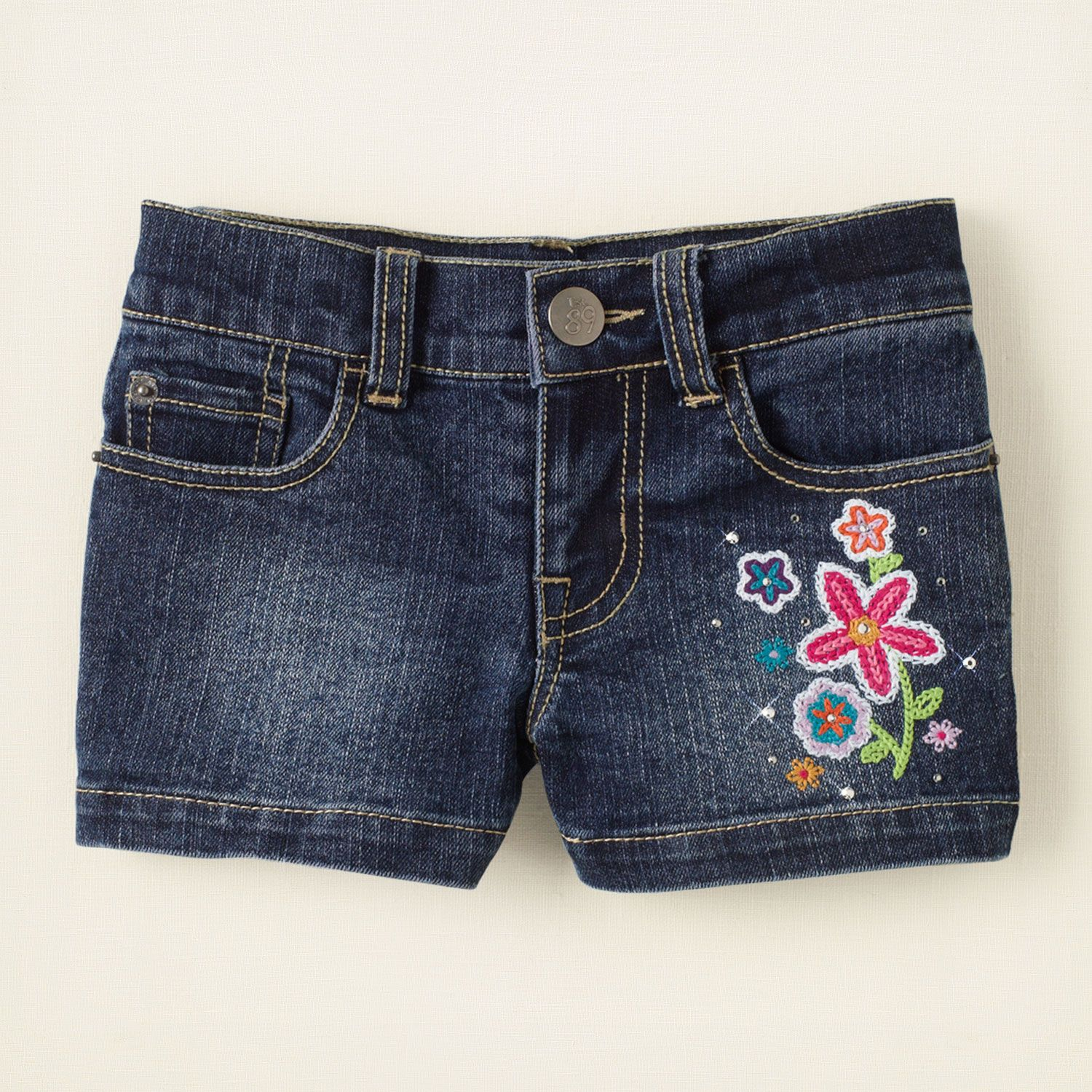 sequin embroidered denim shorts