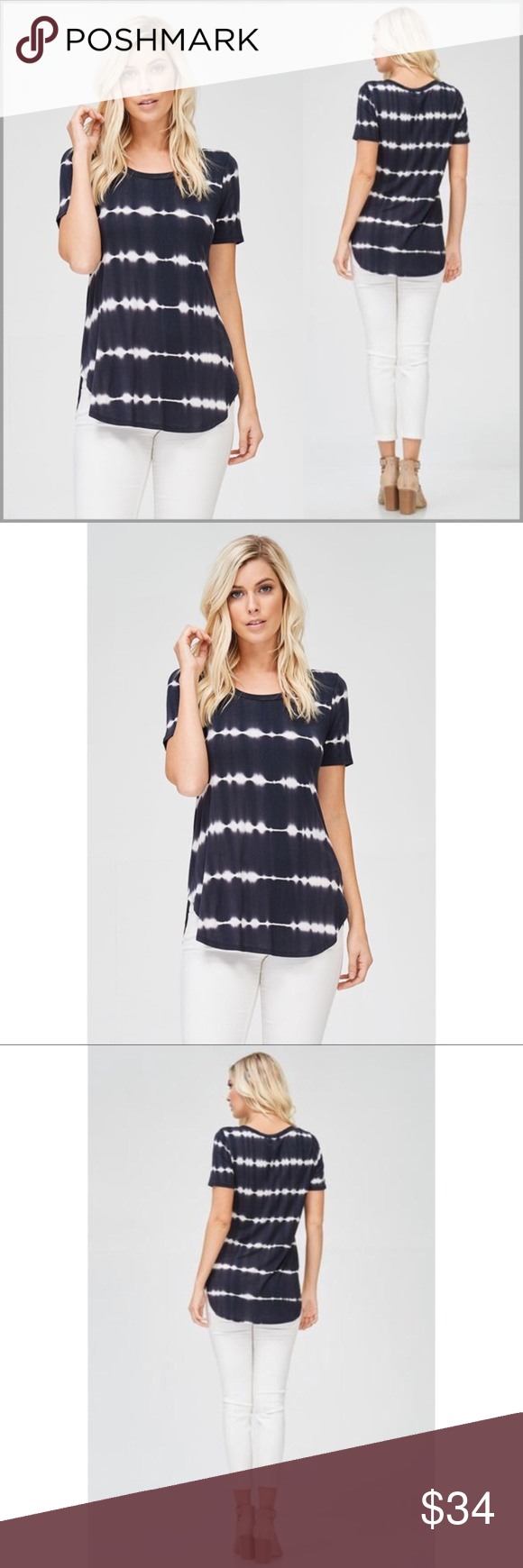 """Black/White Dip Dye Top Black and white (slight look of dark navy blue), dip dye top with curved hemline.  *Scoop Neck *Short Sleeves *Curved hemline *95% Rayon 5% Spandex  Measurements: Small:          Bust: 33"""" Length: 27"""" Medium:     Bust: 35"""" Length: 28"""" Large:         Bust: 37"""" Length: 28""""  **Length measurement is from shoulder seam to longest point in front**  ❗️Price is firm unless bundled❗️ #L4E8821159 Tops"""