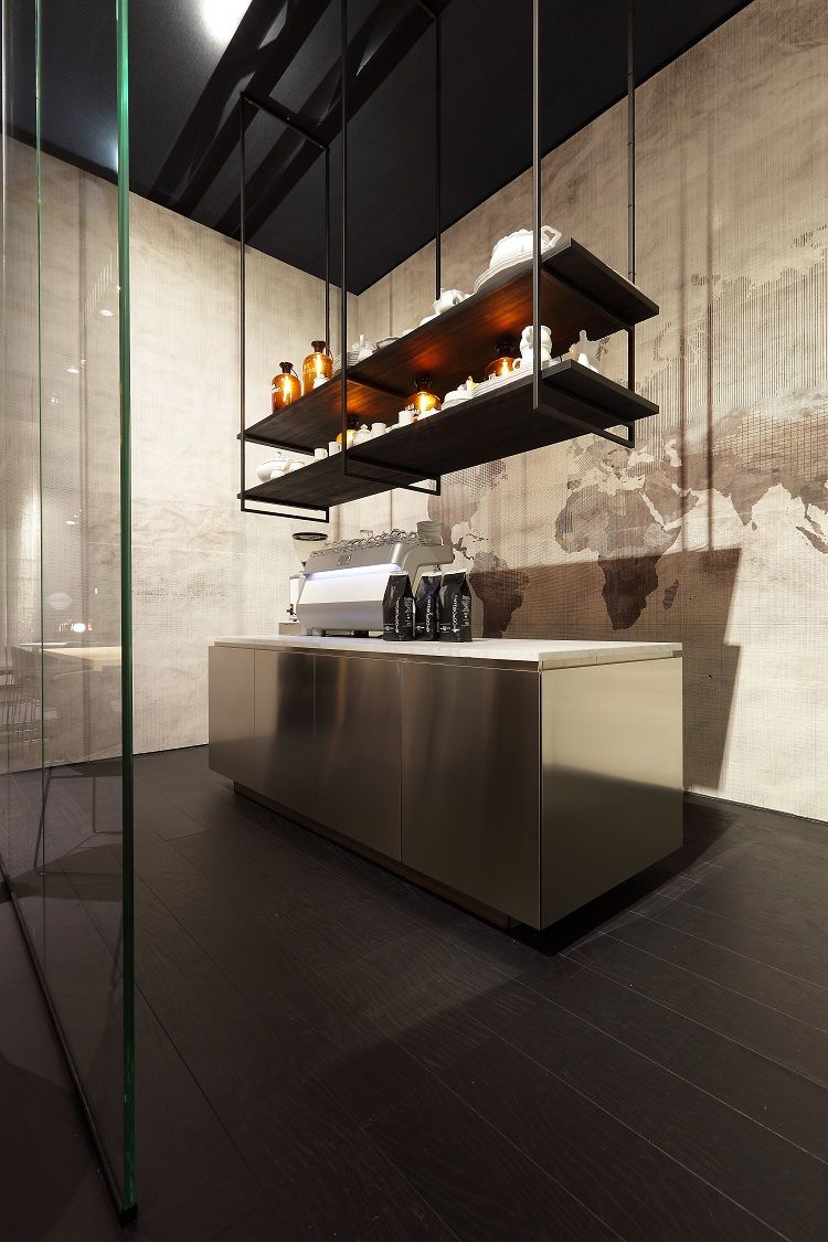 Suspended shelving industrial shelving from ceiling with for Kitchen shelves design