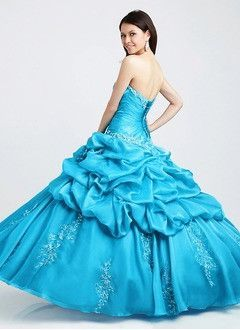 Ball-Gown Strapless Sweetheart Floor-Length Taffeta Organza Prom Dress With…