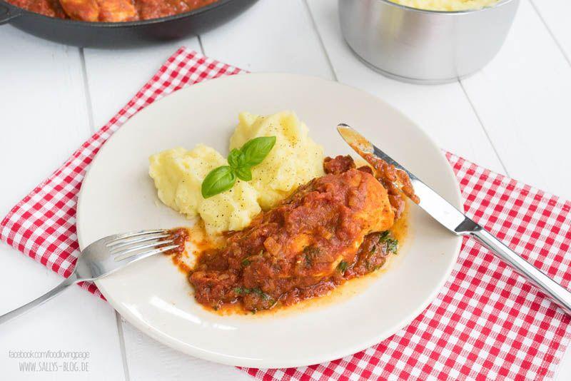hähnchen in tomatensoße mit kartoffelpüree