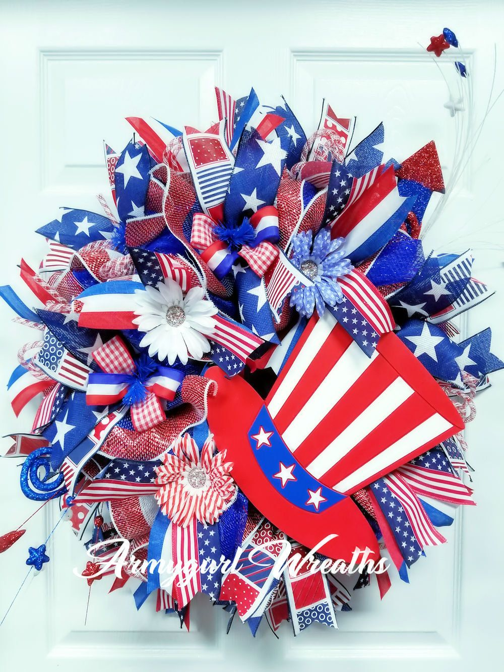 July 4th Wreath Independence Day July 4th Decor Patriotic Deco Mesh Red White Blue Patriotic Wreath I Patriotic Decorations Deco Mesh Wreaths Patriotic Themed