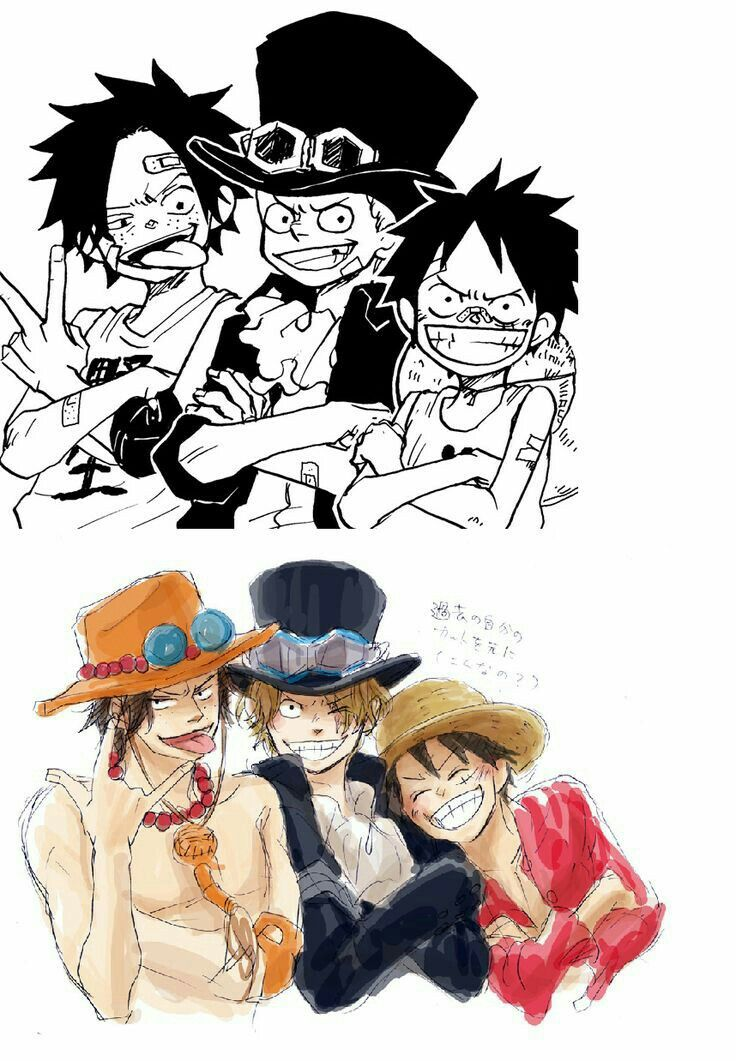 Ace Sabo Luffy Brothers Young Childhood Different Ages Time Lapse Cool Sticking Tongue Akanbe Tex One Piece Funny One Piece Comic One Piece Drawing