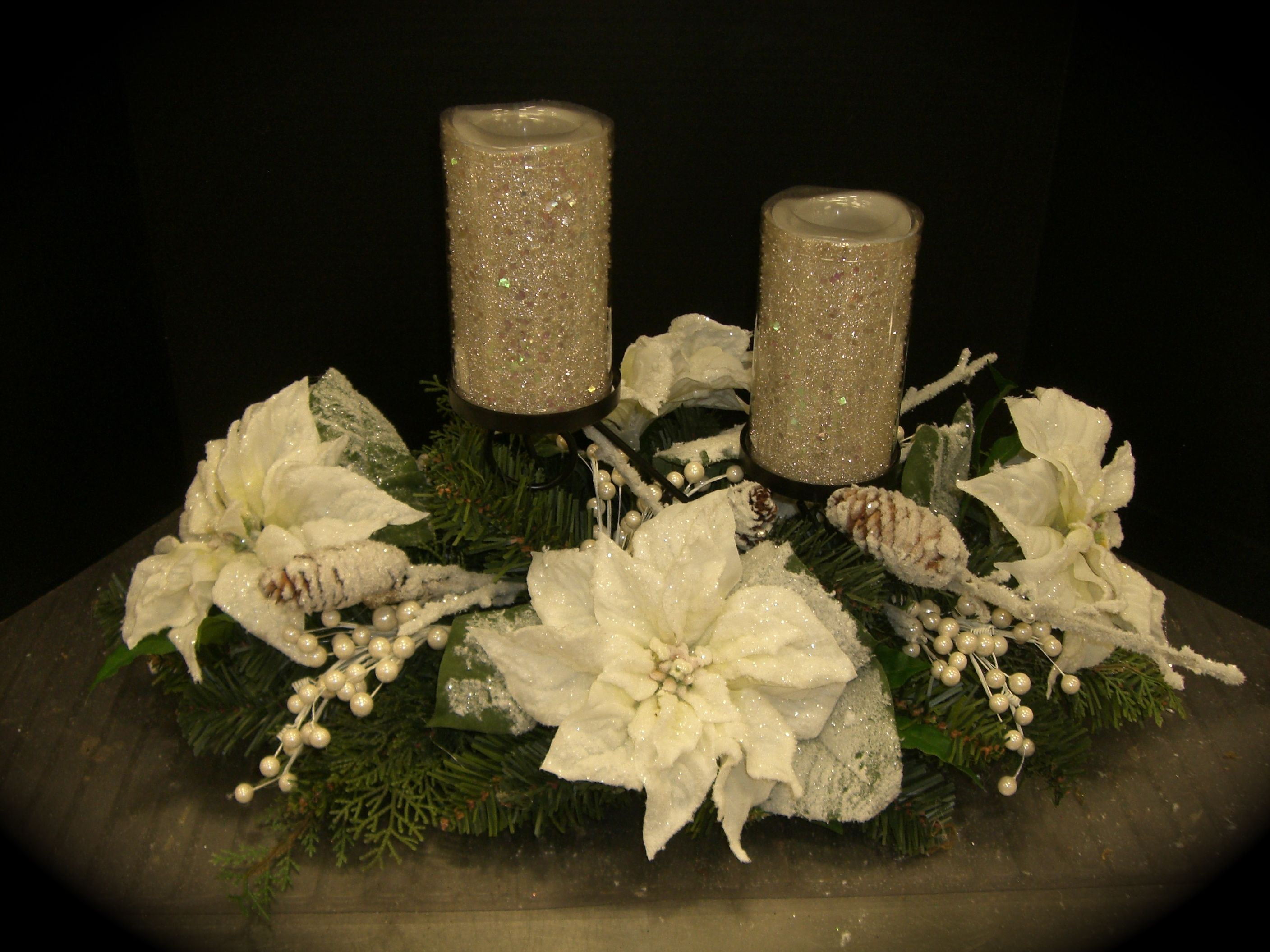 Candle centerpiece in white christmas pinterest White christmas centerpieces