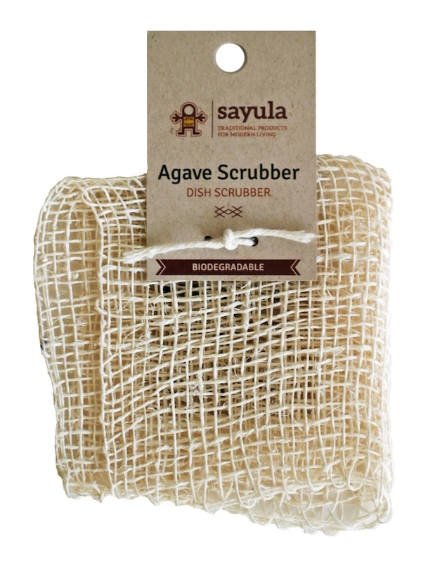 """This scrubber is handmade from a co-operative in Mexico from the leaves of the """"maguey"""" agave. Works great to remove that cooked-on stuff stuck to pots and dish-ware, and to clean fruits and vegetables. Its non-scratch fibres are safe to use on all sorts of surfaces. Plastic-free dish scrubber Canada. #dishware"""