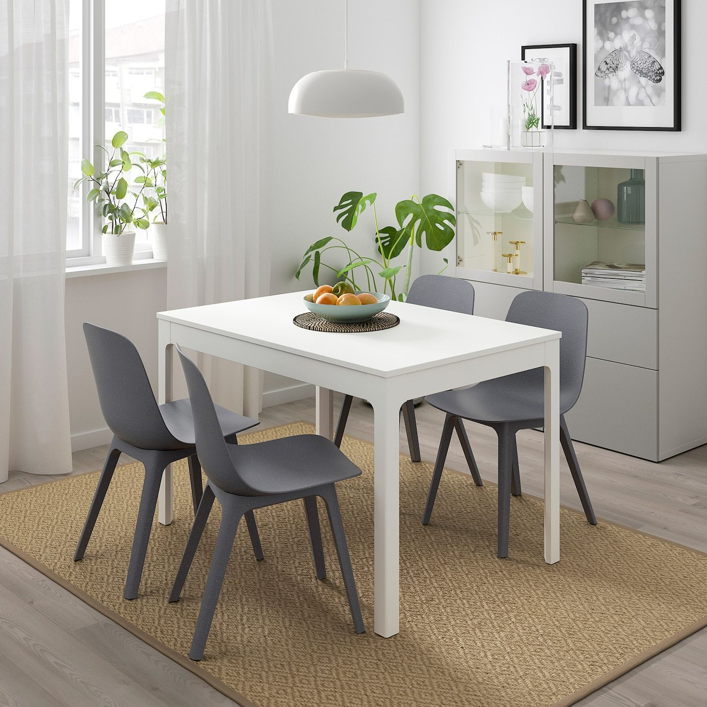 EKEDALEN / ODGER Table and 4 chairs white, blue IKEA