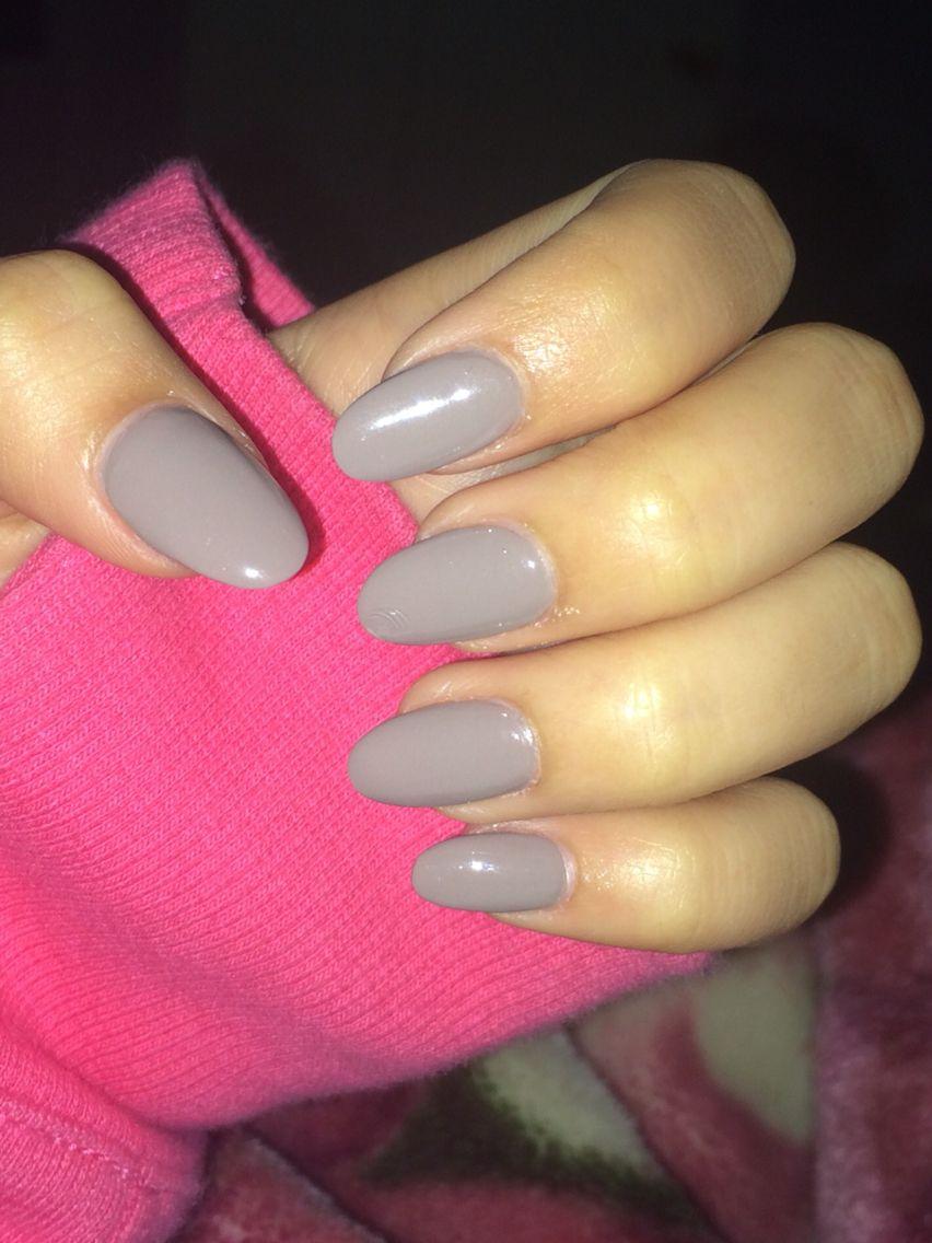 Grey Oval Shaped Acrylic Nails Oval Acrylic Nails Rounded Acrylic Nails Grey Acrylic Nails