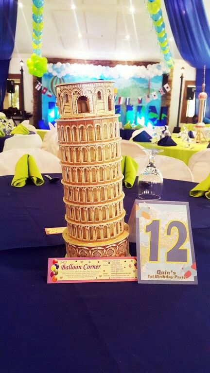 Around The World Themed Table Centerpiece Leaning Tower Of Pisa