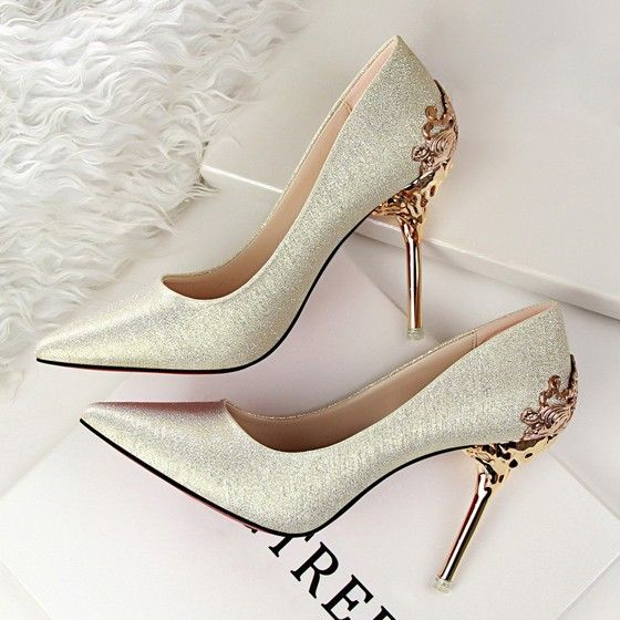 Light Golden Point Toe Stiletto Fashion High-Heeled Shoes