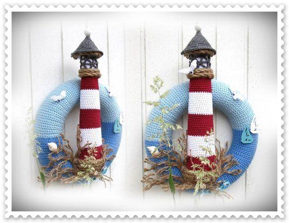 Photo of Crochet door wreath / maritime motif // lighthouse