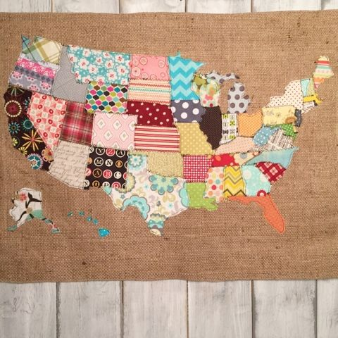 Fabric Scraps Make Something With It I Made A Scrap Map Crafts - Us map quilt tutorial