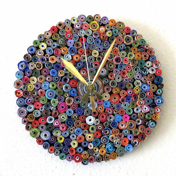 Wall Clock Home And Living Paper Eco Friendly Decor Recycled Art 7149 Via Etsy